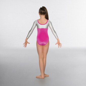 1st Position Alexa Velour Hologram Long sleeved Leotard (Cerise / Silver)