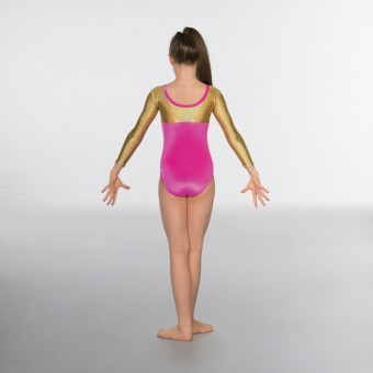 1st Position Alexa Velour Hologram Long sleeved Leotard (Cerise / Gold)