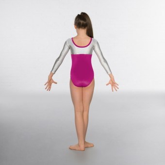 1st Position Alexa Velour Hologram Long sleeved Leotard (Magenta / Silver)