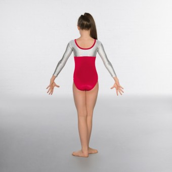 1st Position Alexa Velour Hologram Long sleeved Leotard (Red / Silver)