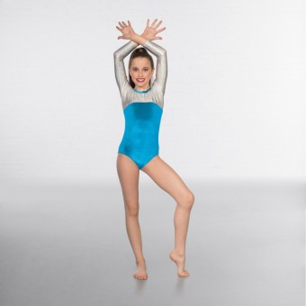 1st Position Alexa Velour Hologram Long sleeved Leotard (Turquoise / Silver)