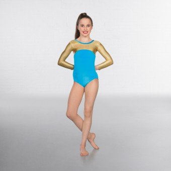 1st Position Alexa Velour Hologram Long sleeved Leotard (Turquoise/Gold)
