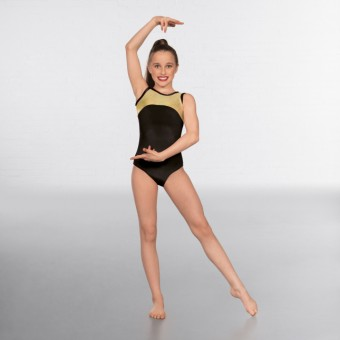 1st Position Taylor Velour / Hologram Sleeveless Leotard (Black/Gold)