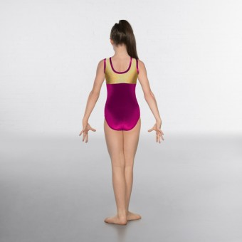 1st Position Taylor Velour / Hologram Sleeveless Leotard (Magenta / Gold)