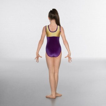1st Position Taylor Velour / Hologram Sleeveless Leotard (Purple / Gold)