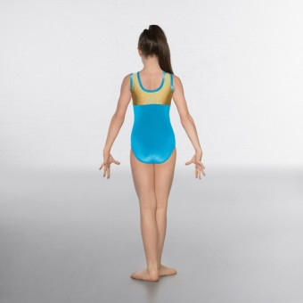 1st Position Taylor Velour / Hologram Sleeveless Leotard (Turquoise/Gold)