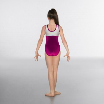 1st Position Taylor Velour / Hologram Sleeveless Leotard (Magenta / Silver)