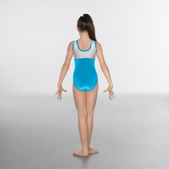 1st Position Taylor Velour / Hologram Sleeveless Leotard (Turquoise / Silver)