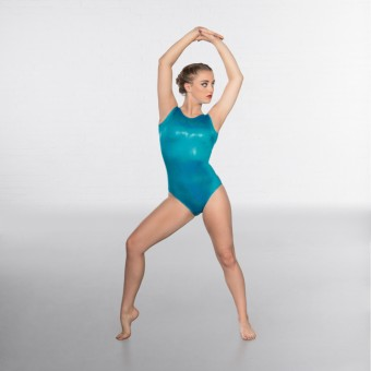 1st Position Kourtney Hologram Shine Sleeveless Leotard (Turquoise)