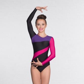 1st Position Brooke Multi Stripe Long Sleeved Leotard Black/Purple/Raspberry