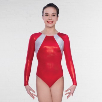 1st Position Lydia Long Sleeved Leotard (Red)