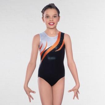 1st Position Kendall Diamante Sleeveless Leotard (Black/Orange)