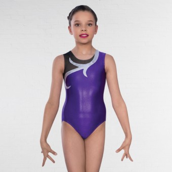 1st Position Karina Asymmetric Mesh Sleeveless Leotard (Purple)