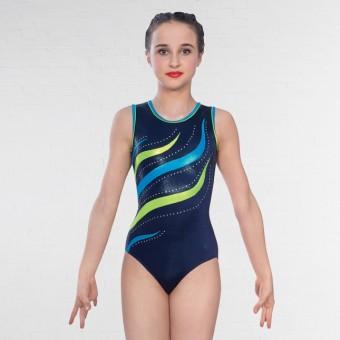 1st Position Erin Diamante Sleeveless Leotard (Navy/Turquoise)