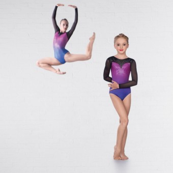 1st Position Clara Mesh Long Sleeved Leotard (Mermaid Ombré)