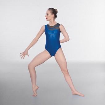 1st Position Kayla Asymmetric Mesh Sleeveless Leotard (Sapphire Blue)