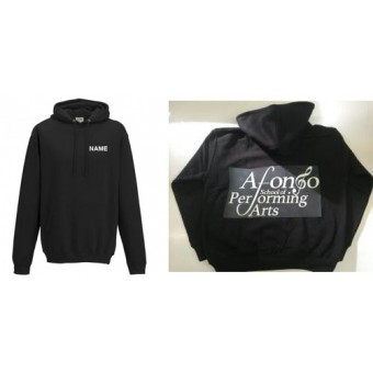 College Hoodie (Black) Personalised with Individual Names and Afonso School of Performing arts Logo