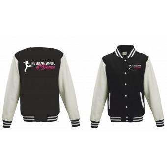 PP *#121003#* Unisex Varsity Jacket (Black/White) with The Village School Of Dance Logo