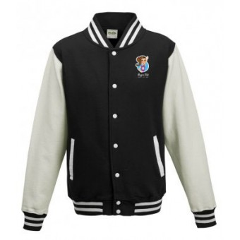 Unisex Varsity Jacket (Black/White) with Alegria Club Logo