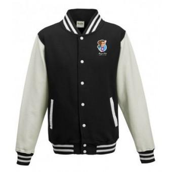 Unisex Varsity Jacket (Black/White) with Alegria Club Logo