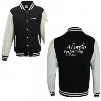 Unisex Varsity Jacket (Black/White) Personalised with Individual Names and Afonso School of Performing arts Logo