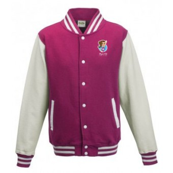 Unisex Varsity Jacket (Bright Pink/White) with Alegria Club Logo
