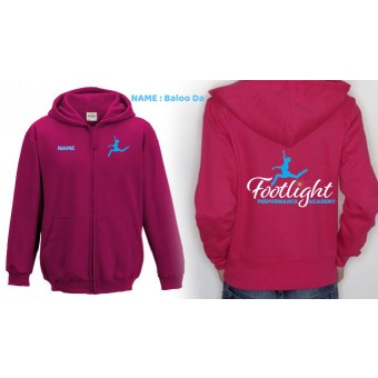 Ladies Fitted Hoodie (Hot Pink) with Footlight Performance Academy Logo