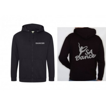 PP *#170112#* Ladies Fitted Hoodie (Black) with S A Dance Logo