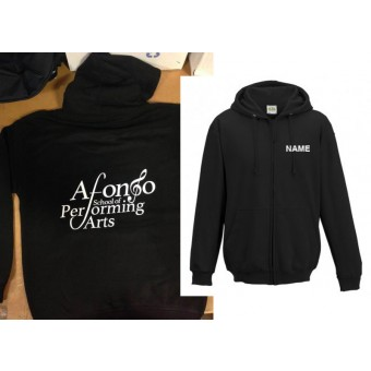Unisex Hoodie (Black) Personalised with Individual Names and Afonso School of Performing arts Logo
