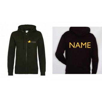 PP *#525232#* Ladies Fitted Hoodie (Black) with Duckegg Theatre Company Logo + name