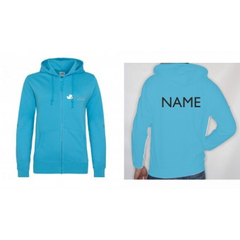 PP *#436547#* Ladies Fitted Hoodie (Hawaiian Blue) with Duckegg Theatre Company Logo + name