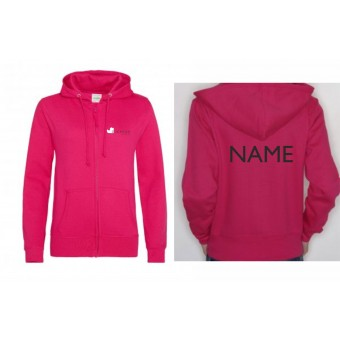 PP *#8897#* Ladies Fitted Hoodie (Hot Pink) with Duckegg Theatre Company Logo + name