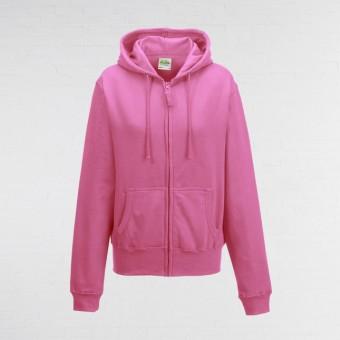 Ladies Fitted Hoodie (Hot Pink)