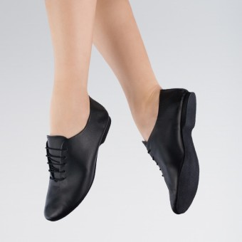 1st Position Leather Jazz Shoes Suede Sole (Black)