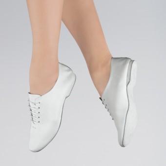 1st Position Jazztanz-Schuhe aus Leder mit Wildledersohle (White)