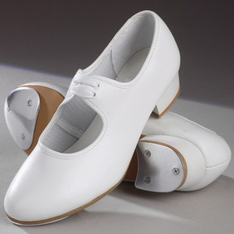 1st Position Low Heel Shoe with Toe & Heel Taps (White)
