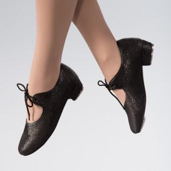1st Position Hologram Low Heel Tap Shoe (Black)