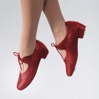 1st Position Hologram Low Heel Tap Shoe (Red)