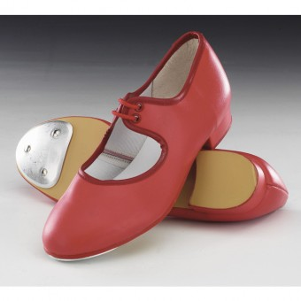 1st Position Low Heel PU Tap Shoes (Ruby Red)