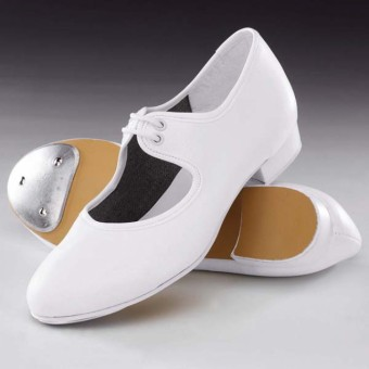 1st Position Low Heel PU Tap Shoes (White)