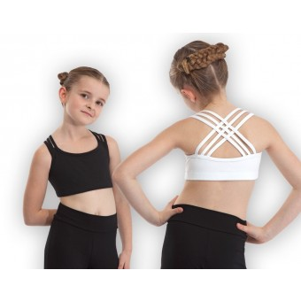 Plume Cross Back Crop Top (Black)