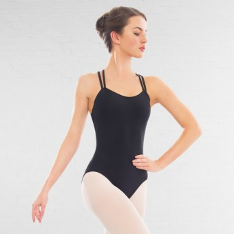 1st Position Ellie Double Strap Leotard (Matt Nylon) (Black)