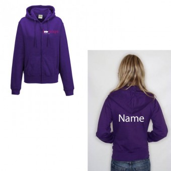 Ladies Fitted Zipped Hoodie in Purple with Footsteps Dance Academy Logo and NAME.