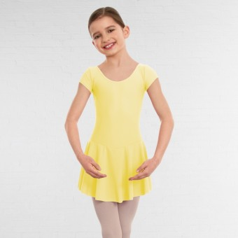 1st Position Maddy Skirted Cap Sleeve Leotard (Matt Nylon) (Lemon)