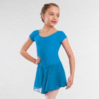 1st Position Milly Voile Skirted Cap Sleeve Leotard (China Blue)