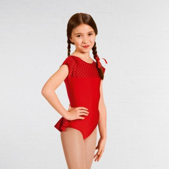 1st Position Natasha Dotty Bum Frill Leotard (Red)