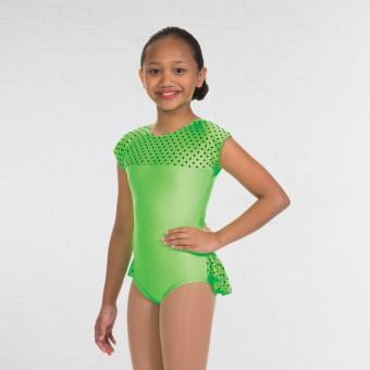 1st Position Natasha Dotty Bum Frill Leotard (Flo Green)