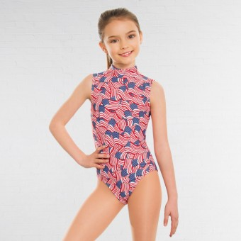 1st Position Jill Polo Neck Printed Leotard American Flag Print