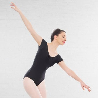 1st Position Alice Cap Sleeved Ruched Leotard (Matt Nylon) (Black)