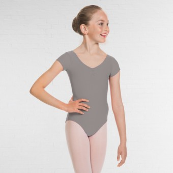 1st Position Alice Cap Sleeved Ruched Leotard (Matt Nylon) (Grey)